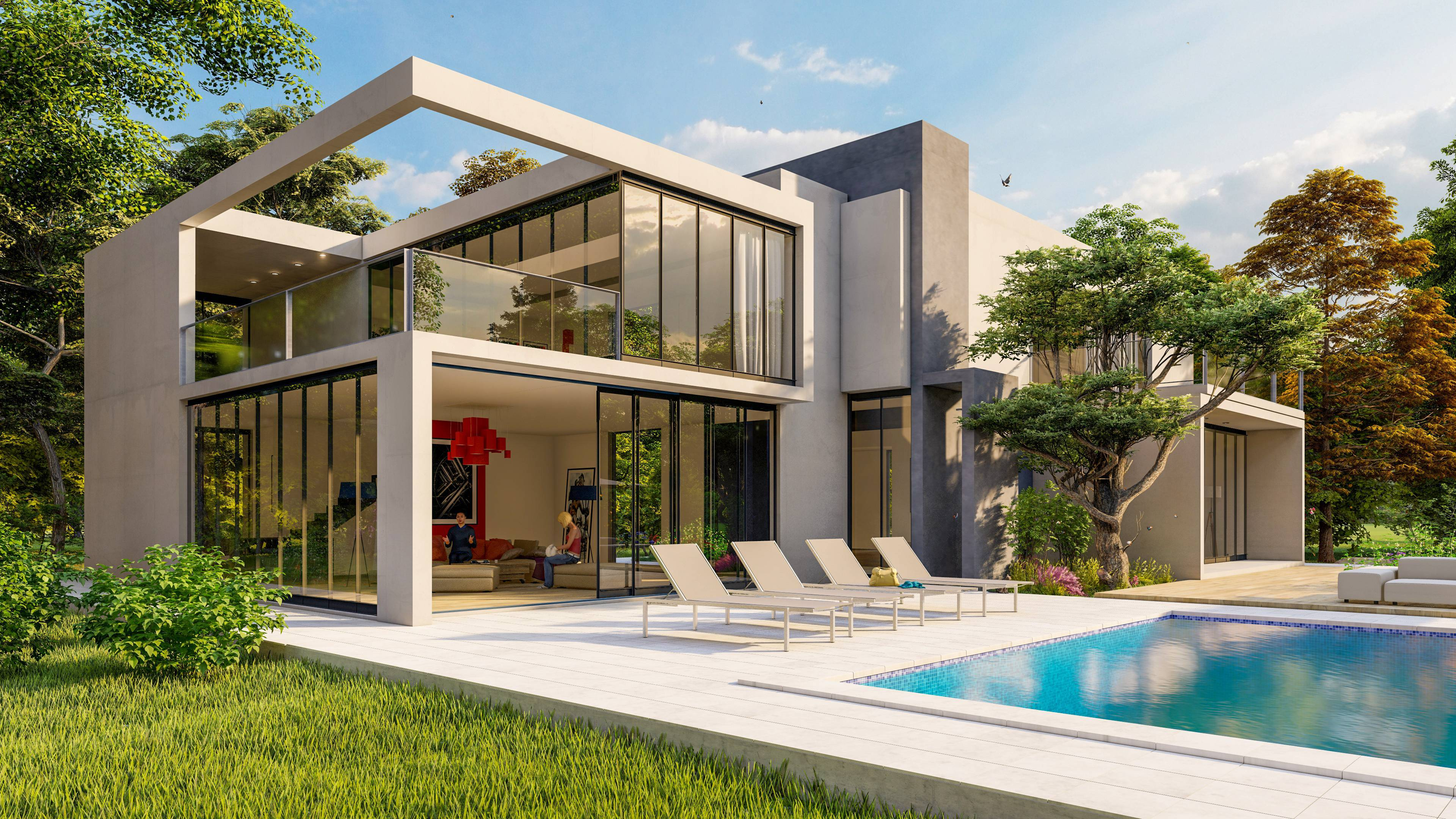 architecture maison cubique fenêtre paysage